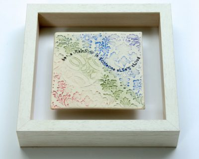 "Rainbow Framed Tile ""be the rainbow in someone else's cloud"" Small"