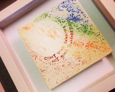 "Rainbow Framed Tile ""count your rainbows not your thunderstorms"""