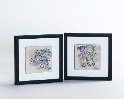 Anthems – framed tiles with lyrics